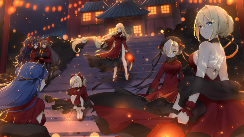 6+girls :d ;d absurdres alternate_costume alternate_hairstyle arm_cutout asymmetrical_bangs aurora_(azur_lane) azur_lane back_tattoo backless_dress backless_outfit bangs bare_legs bare_thighs black_bow black_headwear black_legwear black_ribbon black_shawl blue_eyes blunt_bangs bow breasts brown_choker building character_request chinese_clothes chinese_new_year chinese_text choker cleavage_cutout commentary_request double_bun dress eyebrows_visible_through_hair fireworks fur_collar glowing glowing_eyes grass green_eyes hair_bow hair_bun hair_flaps hair_intakes hair_over_one_eye hair_ribbon hand_on_own_cheek harutsuki_(azur_lane) high_heels high_ponytail highlights highres holding_lantern horns ibuki_(azur_lane) lantern large_breasts long_hair long_sleeves low-tied_long_hair maid_headdress maya_g multicolored_hair multiple_girls night night_sky one_eye_closed open_mouth pantyhose paper_lantern pelvic_curtain petals platinum_blonde_hair red_bow red_dress red_footwear red_pepper_earrings ribbon richmond_(azur_lane) shadow shawl sheffield_(azur_lane) shoulder_cutout side_slit sidelocks sign sitting sky smile stairs standing streaked_hair tattoo very_long_hair wind wind_lift wrist_cuffs yellow_eyes yoizuki_(azur_lane)