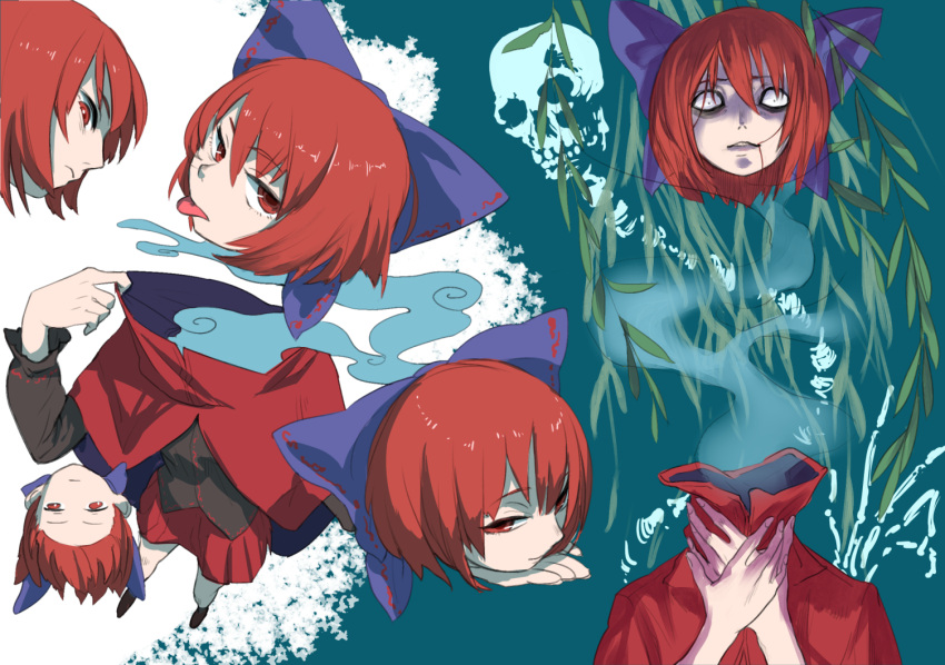 1girl amayadori-tei aqua_background bags_under_eyes black_blouse blouse blue_bow bow cloak constricted_pupils disembodied_head dullahan foreshortening hair_bow hair_in_mouth long_sleeves looking_at_viewer miniskirt multiple_views pleated_skirt red_eyes red_skirt redhead sekibanki short_hair skirt skull tongue tongue_out touhou two-tone_background upside-down white_background