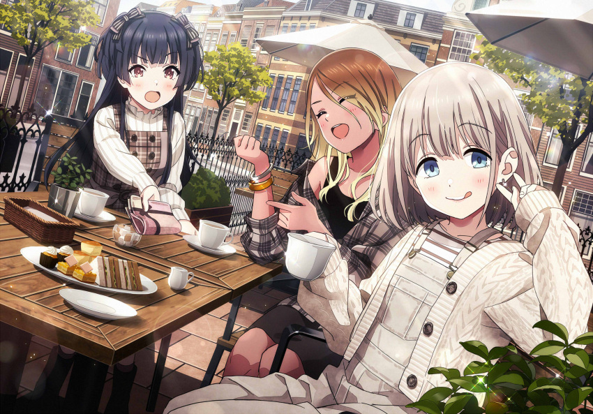 3girls bangle black_hair blonde_hair blue_eyes bow bracelet brown_eyes brown_hair building cafe cake cardigan chair closed_eyes commentary_request cup dark_skin dutch_angle earrings food gradient_hair grey_hair gyaru hair_bow highres idolmaster idolmaster_shiny_colors izumi_mei jewelry licking_lips long_hair long_sleeves looking_at_viewer mayuzumi_fuyuko multicolored_hair multiple_girls open_mouth overalls plaid plaid_shirt sandwich serizawa_asahi shirt short_hair sitting sleeves_past_wrists sonsoso straylight_(idolmaster) table teacup tongue tongue_out tree two_side_up