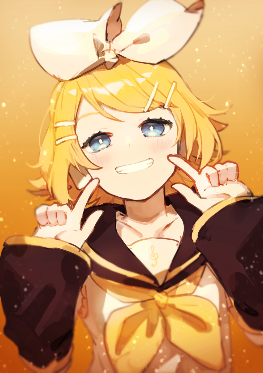 1girl absurdres bangs black_collar black_sleeves blonde_hair blue_eyes bow collar collarbone commentary detached_sleeves doodle fingers_to_cheeks grin hair_bow hair_ornament hairclip headphones highres index_finger_raised kagamine_rin light_blush looking_at_viewer neckerchief orange_background pointing pointing_at_self sailor_collar school_uniform shirt short_hair sleeveless sleeveless_shirt smile solo swept_bangs symbol_commentary treble_clef upper_body vocaloid white_bow white_shirt yamada_ichi yellow_neckwear