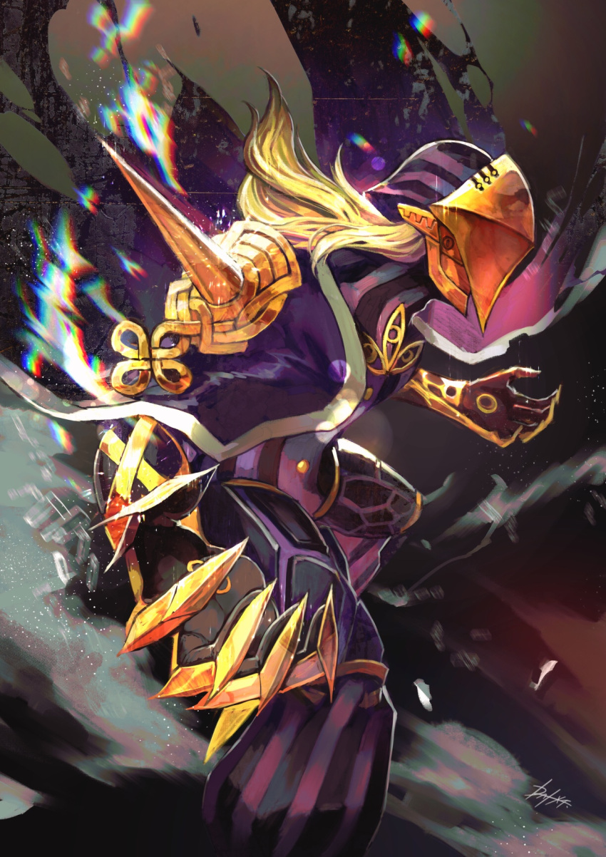 1boy armor avicebron_(fate) blonde_hair cape dai-xt fate/apocrypha fate/grand_order fate_(series) fighting_stance full_armor gauntlets gloves highres long_hair long_sleeves looking_to_the_side male_focus mask solo upper_body