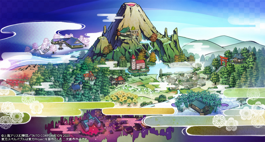 bamboo bamboo_forest blue_sky building clock clock_tower clouds commentary_request day eientei flower forest former_capital garden_of_the_sun gensoukyou hakugyokurou hakurei_shrine hill human_village_(touhou) misty_lake moriya_shrine nature no_humans outdoors scarlet_devil_mansion scenery shrine sky sunflower syuri22 torii touhou touhou_spell_bobble tower volcano water waterfall