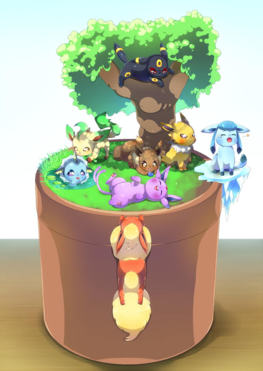 closed_eyes commentary_request creature eevee espeon flareon gen_1_pokemon gen_2_pokemon gen_4_pokemon gen_6_pokemon glaceon grass highres ice jolteon leafeon lying naoto_(yandereheaven) no_humans on_back on_stomach pokemon pokemon_(creature) tree umbreon vaporeon water yawning