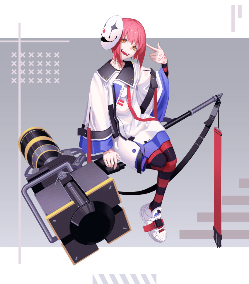 1boy :d earrings finger_gun finger_gun_to_head full_body full_body_tattoo hammer highres huge_weapon jacket jewelry looking_at_viewer male_focus mask mask_on_head open_mouth original pantyhose pink_hair shoes smile sneakers solo striped striped_legwear tattoo teeth tsuki-shigure weapon yellow_eyes