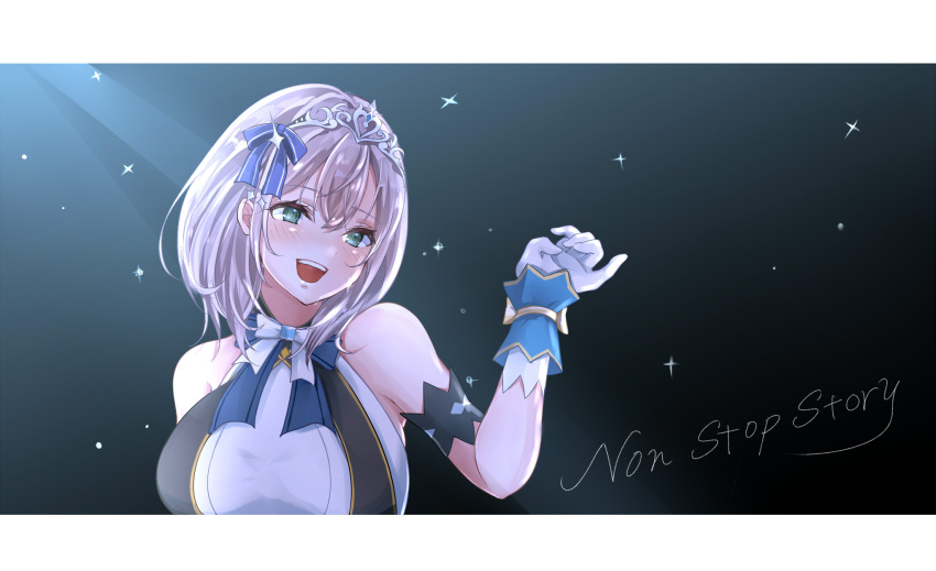 1girl alternate_costume armband bare_shoulders breasts english_text gloves green_eyes hair_ornament highres hololive idol_clothes large_breasts looking_at_viewer open_mouth roriwanko shirogane_noel sparkle upper_body upper_teeth virtual_youtuber white_gloves white_hair