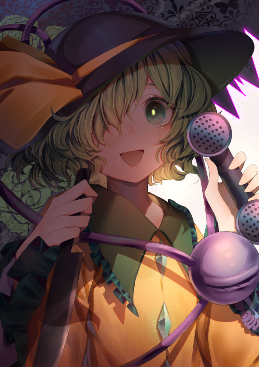 1girl :d abstract_background collared_shirt commentary english_commentary eyeball frilled_sleeves frills green_eyes green_hair hair_over_one_eye hat hat_ribbon heikokuru1224 highres holding holding_knife holding_weapon knife komeiji_koishi looking_at_viewer mary-san open_eyes open_mouth phone ribbon shadow shirt short_hair smile solo third_eye touhou upper_body urban_legend_in_limbo wavy_hair weapon wide_sleeves yellow_ribbon yellow_shirt