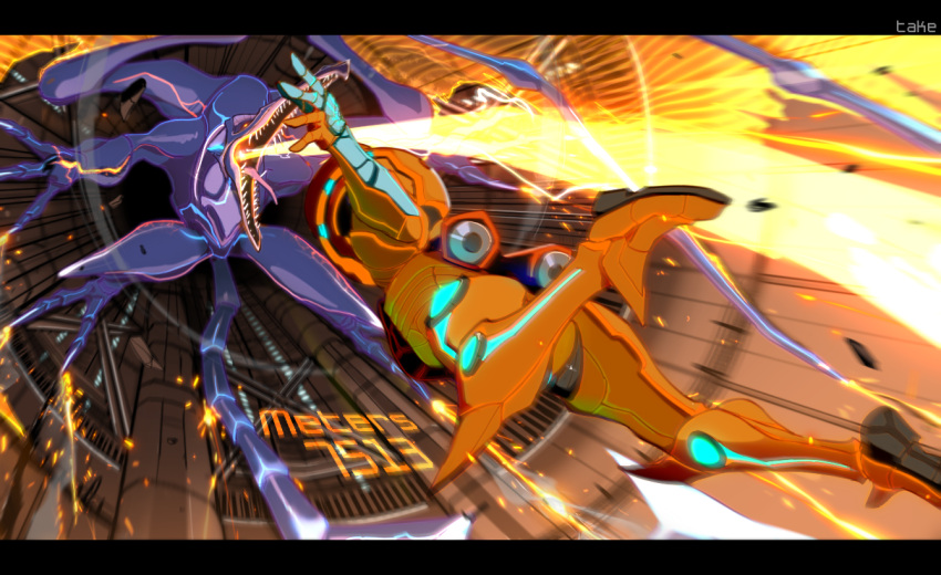 1girl alien armor attack battle claws commentary dragon_wings energy_beam english_commentary english_text falling fisheye full_armor letterboxed looking_at_another metroid metroid_prime_3:_corruption motion_blur open_mouth power_armor ridley samus_aran sharp_teeth shoulder_pads sideways size_difference sparks talons teeth teke user_interface varia_suit wings