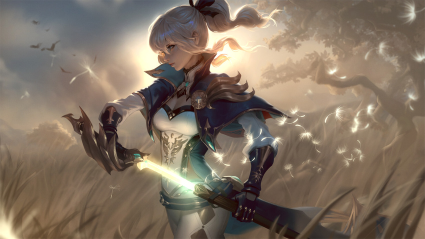 1girl backlighting bangs blonde_hair blue_eyes breasts capelet closed_mouth clouds coattails floating_hair gauntlets genshin_impact glowing glowing_weapon grass hair_between_eyes hair_ribbon high_collar highres holding holding_sword holding_weapon jacket jean_gunnhildr long_hair looking_afar medium_breasts official_art outdoors pants ponytail popped_collar raikoart ribbon sheath sidelocks solo sunlight sword unsheathing weapon wind