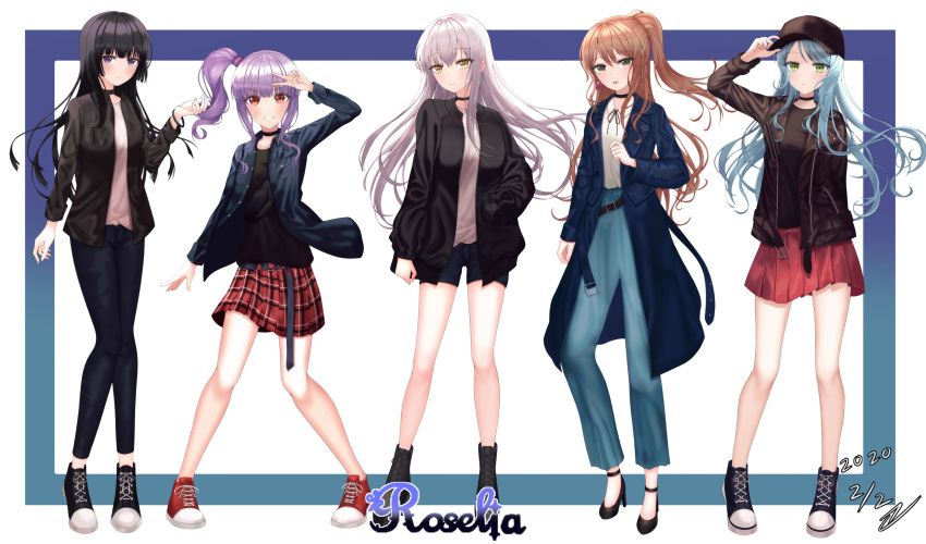 5girls :o absurdres adjusting_clothes adjusting_hat alternate_hairstyle aqua_hair arm_behind_back arm_up bang_dream! bangs bare_legs baseball_cap belt black_belt black_choker black_footwear black_hair black_headwear black_jacket black_ribbon black_shirt blue_border blue_coat blue_pants blunt_bangs boots border breast_pocket brown_hair bunny_earrings choker clenched_hand collarbone collared_shirt commentary_request dated denim denim_jacket dong_hawn eyebrows_visible_through_hair fang fanny_pack full_body gradient_border green_eyes grey_hair grin half_updo hand_in_pocket hand_over_face hat high_heel_boots high_heels high_tops highres hikawa_sayo hime_cut imai_lisa jacket jeans knees_together_feet_apart korean_commentary leather leather_jacket light_frown long_hair long_sleeves looking_at_viewer minato_yukina miniskirt multiple_girls navy_blue_shorts neck_ribbon open_clothes open_jacket open_shirt pants plaid plaid_skirt pleated_skirt pocket purple_border purple_hair red_eyes red_footwear red_skirt ribbon roselia_(bang_dream!) shiny shiny_hair shirokane_rinko shirt shoes short_shorts shorts side_ponytail sidelocks signature skirt smile sneakers solo standing udagawa_ako undershirt v violet_eyes white_background white_shirt yellow_eyes