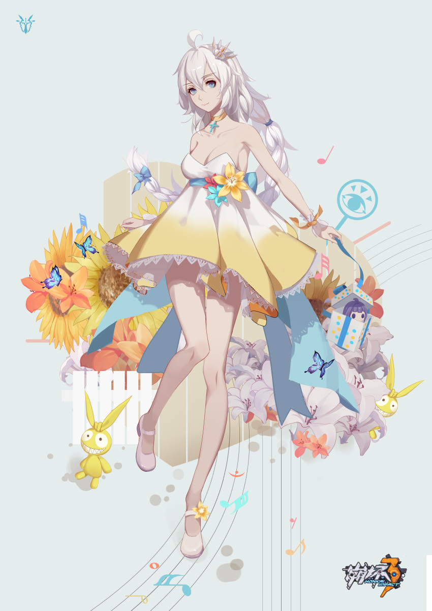 1girl absurdres ahoge amaryllis_(flower) bare_shoulders benghuai_xueyuan blue_bow blue_eyes bow box braid breasts bug butterfly cheeky_little_star choker cross crown doll dress eighth_note eighth_rest fermata flower full_body gift gift_box gradient_dress hair_bow half_note highres honkai_(series) honkai_impact_3rd insect kiana_kaslana logo long_hair looking_at_viewer medium_breasts mini_crown musical_note quarter_note silver_hair sixteenth_note solo staff_(music) standing standing_on_one_leg strapless strapless_dress sunflower thirty-second_note very_long_hair white_dress white_footwear whole_note yellow_dress