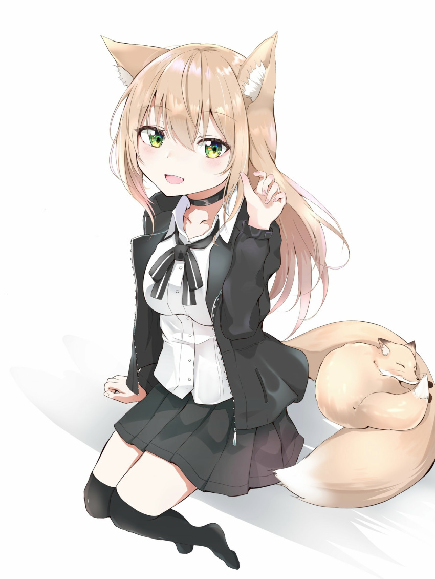 1girl animal_ear_fluff animal_ears arm_up black_jacket black_legwear black_neckwear black_ribbon black_skirt blonde_hair breasts choker commentary_request eyebrows_visible_through_hair fang fingernails foreshortening fox fox_ears fox_girl fox_tail green_eyes hair_between_eyes hand_in_hair highres impossible_clothes impossible_shirt iyo_(ya_na_kanji) jacket long_hair looking_at_viewer medium_breasts open_clothes open_jacket open_mouth original over-kneehighs pleated_skirt ribbon school_uniform shirt sitting skirt solo tail tail_pillow thigh-highs very_long_hair white_shirt