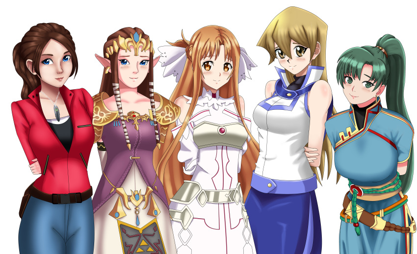 5girls a-1_pictures arms_behind_back ascii_media_works asuna_(sao) belt blonde_hair blue_dress blue_eyes blue_skirt blush breastplate brown_eyes brown_hair capcom claire_redfield cute deviantart fire_emblem gold_eyes green_eyes green_hair happy human hylian intelligent_systems jeans konami leaning_forward long_hair lyn_(fire_emblem) lyndis_(fire_emblem) nintendo nintendo_ead princess_zelda red_jacket resident_evil_2 sailor_collar sincity2100 sleeveless smile sword_art_online tenjouin_asuka the_legend_of_zelda the_legend_of_zelda:_twilight_princess white_dress white_shirt yellow_eyes yu-gi-oh! yuu-gi-ou yuu-gi-ou_gx yuuki_asuna