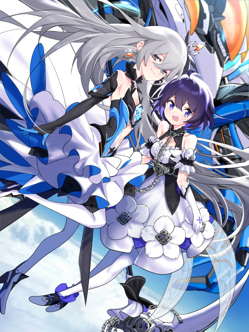 2girls :d absurdres ahoge arm_cuffs bangs bare_shoulders black_gloves blue_eyes blue_hair blurry blurry_background breasts bronya_zaychik bronya_zaychik_(herrscher_of_reason) brooch center_opening chain clouds collar collarbone commentary_request crossed_bangs crown dress dress_flower earrings elbow_gloves eyebrows_visible_through_hair flat_chest floating frilled_collar frills full_body glint gloves grey_eyes grey_hair high_heels highres holding holding_scythe honkai_(series) honkai_impact_3rd jellsuimu jewelry keyhole layered_dress long_hair looking_at_viewer mini_crown multicolored_hair multiple_girls open_mouth pantyhose project_bunny purple_hair scythe seele_vollerei seele_vollerei_(stygian_nymph) sidelocks single_elbow_glove skirt sky sleeveless sleeveless_dress small_breasts smile tilted_headwear two-tone_dress two-tone_hair white_dress white_gloves white_legwear white_skirt