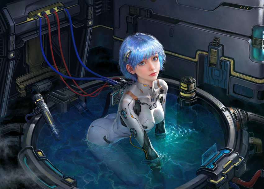 1girl all_fours ass ayanami_rei blue_hair bodysuit breasts highres jiayuan_song looking_at_viewer neon_genesis_evangelion partially_submerged plugsuit short_hair solo technology water wire