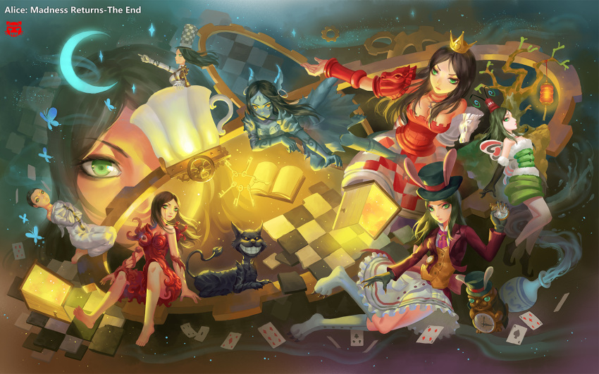 1boy 1girl alice:_madness_returns alice_(wonderland) alice_in_wonderland alice_liddell black_hair blood breasts cheshire_cat closed_mouth dress feet gloves green_eyes highres long_hair looking_at_viewer multiple_persona short_hair shui_qian_he_kafei very_short_hair