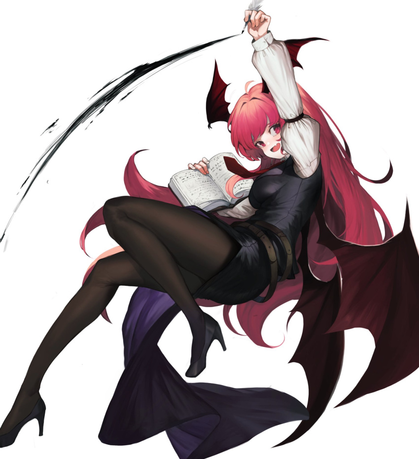1girl :d ahoge arm_up bangs belt black_dress black_footwear black_legwear book breasts commentary demon_wings dress fang feathers head_tilt head_wings heoningu high_heels highres holding holding_book holding_feather juliet_sleeves koakuma long_hair long_sleeves looking_at_viewer medium_breasts necktie open_mouth pantyhose puffy_sleeves red_eyes red_neckwear redhead shirt short_dress side_slit simple_background smile solo symbol_commentary thighs touhou very_long_hair white_background white_shirt wings