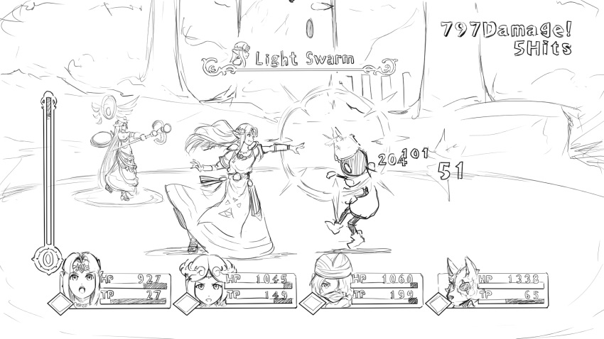 1boy 3girls automatic_giraffe belt bracer commentary dress english_commentary english_text fake_screenshot gameplay_mechanics greyscale halo heads-up_display health_bar highres jewelry kid_icarus kirby_(series) leaning_forward long_hair magic monochrome multiple_girls necklace number outstretched_arm palutena parody portrait primid princess_zelda sheik shield short_sleeves shoulder_armor sketch staff standing star_fox super_smash_bros. tabard tales_of_(series) the_legend_of_zelda the_legend_of_zelda:_a_link_between_worlds the_legend_of_zelda:_a_link_to_the_past the_legend_of_zelda:_ocarina_of_time triforce very_long_hair whispy_woods wolf_o'donnell
