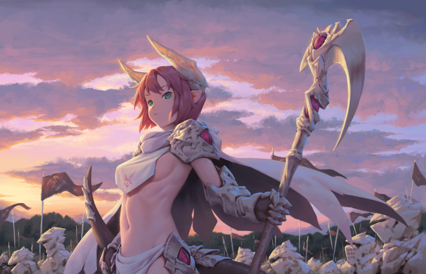 1girl 6+others armor army backlighting bangs bigrbear breast_curtain breasts cape clouds cloudy_sky cowboy_shot dragon_girl dragon_tail english_commentary forest full_armor gauntlets green_eyes groin highres horns light_frown loincloth looking_at_viewer medium_breasts multiple_others nature navel original outdoors pauldrons pennant pink_hair pointy_ears redhead scythe serious short_hair sideboob sidelocks sky solo_focus standard_bearer standing sunrise tail weapon