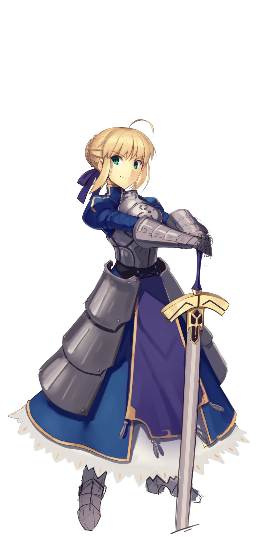 absurdres ahoge armor artoria_pendragon_(all) blonde_hair blue_dress boa_(brianoa) braid braided_bun breastplate closed_mouth dress excalibur fate/stay_night fate_(series) faulds full_body gauntlets green_eyes hair_ribbon hands_on_hilt highres juliet_sleeves legs_apart long_sleeves looking_at_viewer metal_boots planted_sword planted_weapon plate_armor pose puffy_sleeves purple_ribbon ribbon saber sidelocks smile standing sword transparent_background weapon
