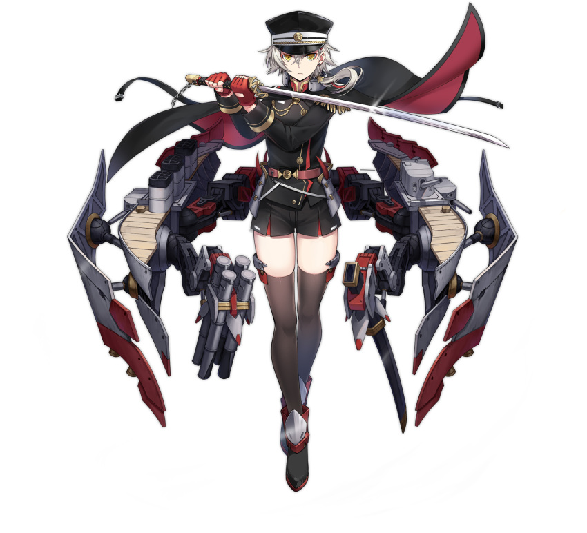 1girl armor artist_request azur_lane bangs belt black_cape black_footwear black_headwear black_jacket black_legwear black_shorts cape closed_mouth fingerless_gloves frown full_body gloves hair_between_eyes hair_ornament hat highres holding holding_sword holding_weapon jacket japanese_armor katana kinu_(azur_lane) looking_at_viewer medium_hair military military_hat military_uniform multicolored multicolored_cape multicolored_clothes official_art red_cape red_gloves retrofit_(azur_lane) rigging rudder_footwear shorts shoulder_armor sode solo sword thigh-highs torpedo_launcher transparent_background turret uniform weapon yellow_eyes