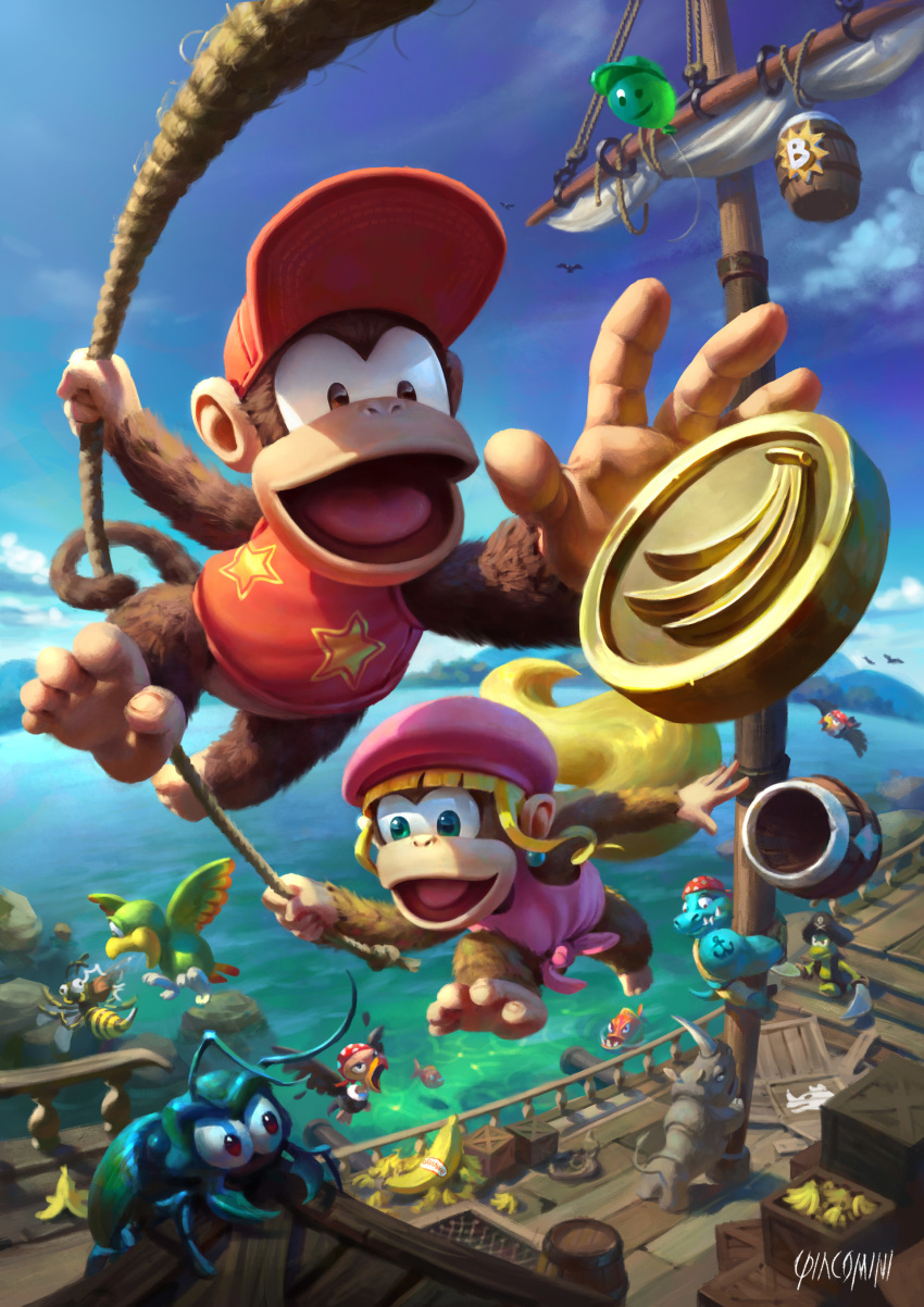 absurdres artist_name balloon banana barrel baseball_cap blonde_hair brown_eyes bug climbing coin day diddy_kong dixie_kong donkey_kong_(series) donkey_kong_country_2 dual_wielding fish fisheye food foreshortening fruit fur furry green_eyes hat highres holding holding_sword holding_weapon insect kremling long_hair looking_at_another mast monkey no_humans ocean open_mouth outdoors outstretched_arm piranha pirate_hat ponytail rambi reaching renato_giacomini rhinoceros rope sail ship shirt swinging sword vest walking water watercraft weapon