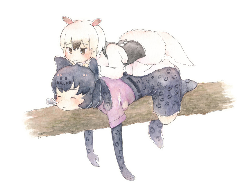 2girls :3 animal_ears anteater_ears anteater_tail belt black_fur black_gloves black_hair black_jaguar_(kemono_friends) black_skirt black_vest branch brown_eyes closed_eyes commentary_request elbow_gloves eyebrows_visible_through_hair fur_collar gloves high-waist_skirt highres jaguar_ears jaguar_girl jaguar_print jaguar_tail kemono_friends long_sleeves lying lying_on_another mtsu84 multiple_girls no_shoes nose_bubble on_stomach pantyhose pleated_skirt print_gloves print_skirt purple_shirt shirt short_hair short_sleeves skirt sleeping southern_tamandua_(kemono_friends) tail traditional_media vest watercolor_(medium) white_hair white_legwear