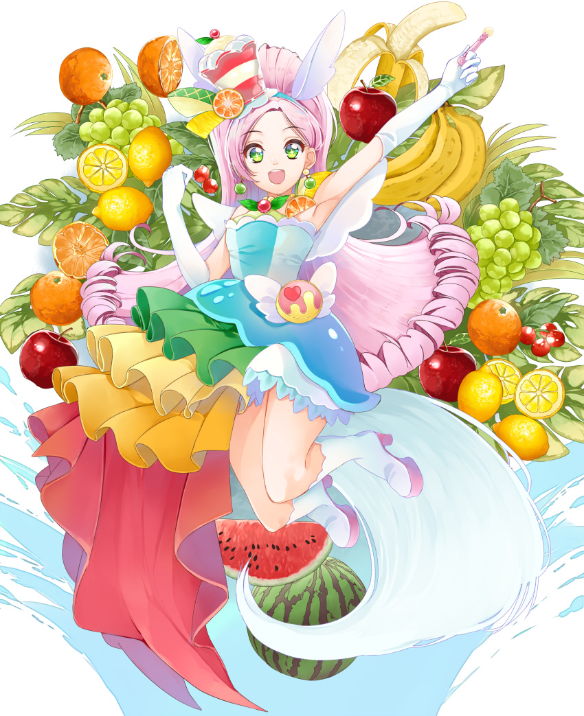 1girl absurdres armpits banana bangs blue_hairband blue_shirt boots cure_parfait dress_shirt elbow_gloves floating_hair food fruit full_body gloves grapes hairband hat high_heel_boots high_heels highres holding jumping kirakira_precure_a_la_mode lemon long_hair looking_at_viewer outstretched_arm parted_bangs pink_hair precure red_apple shiny shiny_hair shirt sleeveless sleeveless_shirt solo strapless_shirt very_long_hair watermelon white_footwear white_gloves yuutarou_(fukiiincho)