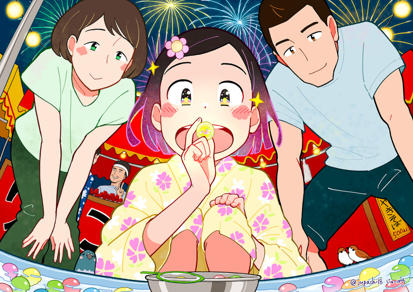2boys 2girls aerial_fireworks bird blue_shirt blue_shorts blush brown_eyes candy_apple commentary_request family festival fireworks floral_print flower food food_stand green_eyes green_pants green_shirt hair_flower hair_ornament headband highres japanese_clothes jupachi18 kimono long_sleeves multiple_boys multiple_girls night night_sky open_mouth original outdoors pants partially_submerged print_kimono shirt short_hair short_sleeves shorts signature sky smile summer summer_festival twitter_username wide_sleeves yatai yellow_kimono yukata
