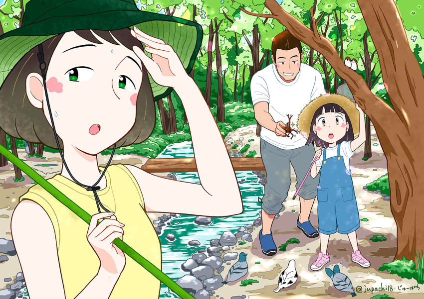 1boy 2girls bangs bird blue_footwear blunt_bangs blush butterfly_net child commentary_request day family green_eyes grey_pants hand_net hand_up hat holding holding_butterfly_net jupachi18 multiple_girls open_mouth orange_hair original outdoors overalls pants parted_lips pigeon pink_footwear pocket rhinoceros_beetle river rock shirt shoes short_sleeves signature sleeveless sleeveless_shirt smile standing summer sweat sweatdrop swept_bangs tree twitter_username upper_body white_shirt wide_shot yellow_shirt