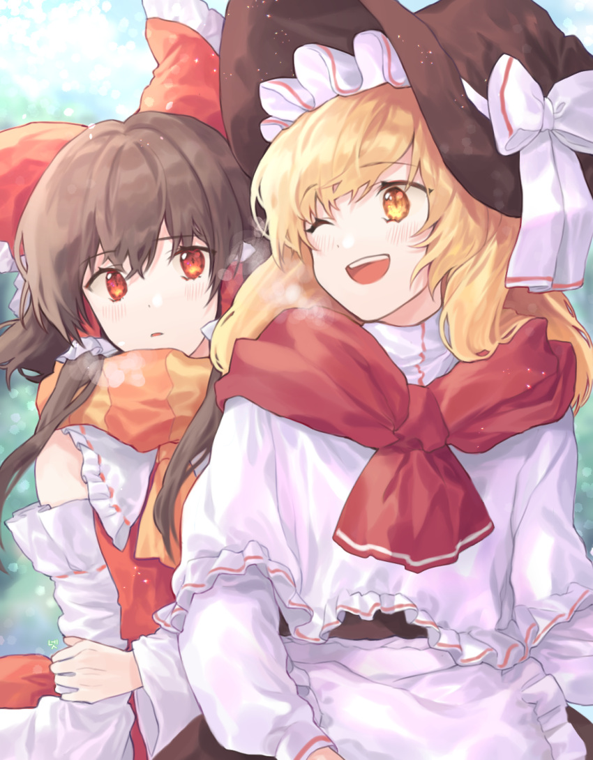 2girls ;d apron bangs bare_shoulders black_dress black_headwear blonde_hair blush bow breath brown_hair capelet cheunes commentary detached_sleeves dress eyebrows_visible_through_hair frilled_apron frilled_bow frilled_shirt_collar frills hair_bow hair_tubes hakurei_reimu hat hat_bow highres kirisame_marisa light_particles long_hair long_sleeves looking_at_another multiple_girls one_eye_closed open_mouth orange_scarf parted_lips red_bow red_eyes red_scarf scarf sidelocks smile touhou upper_body waist_apron white_apron white_bow white_capelet witch_hat yellow_eyes