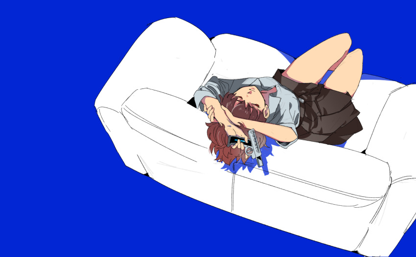 1girl blue_background breasts brown_hair closed_mouth couch evoker female_protagonist_(persona_3) gun ine_(goin) persona persona_3 persona_3_portable short_hair simple_background skirt weapon