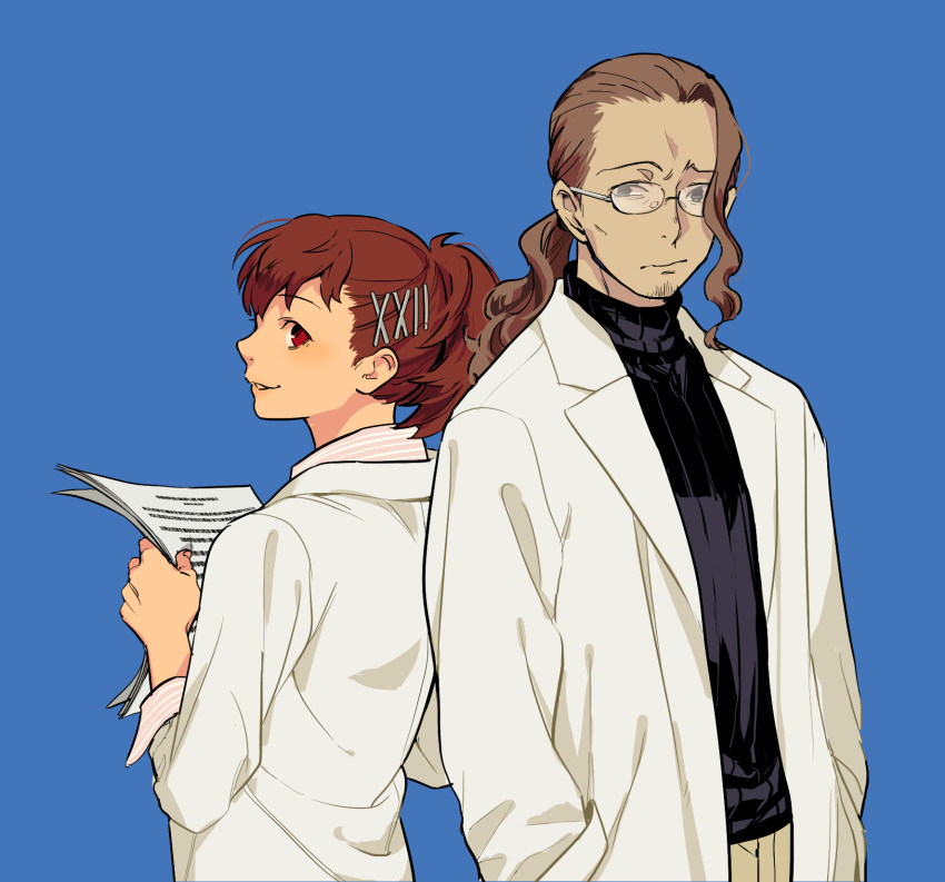 1boy 1girl brown_hair closed_mouth commentary_request female_protagonist_(persona_3) glasses hair_ornament hairclip highres ikutsuki_shuuji ine_(goin) looking_at_viewer persona persona_3 persona_3_portable red_eyes short_hair simple_background smile