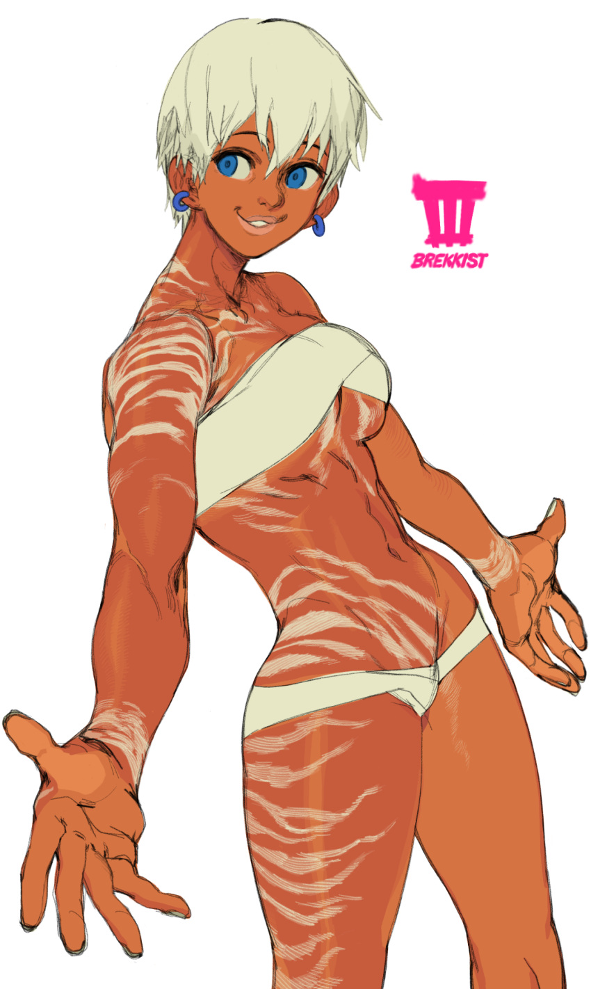 1girl abs bare_shoulders blue_earrings blue_eyes breasts brekkist commentary dark_skin elena_(street_fighter) english_commentary full_body_tattoo highres lips lowleg lowleg_panties medium_breasts navel outstretched_arms panties redesign short_hair solo strapless street_fighter street_fighter_iii_(series) tattoo toned tribal_tattoo tubetop under_boob underwear very_dark_skin white_background white_hair white_panties white_tubetop