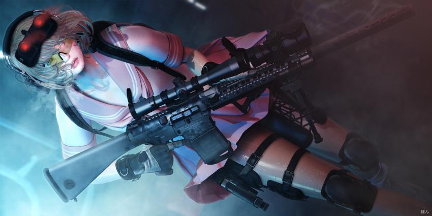 1girl 3d eripom-moonwall gun highres military original rifle school_uniform serafuku sr-25 weapon