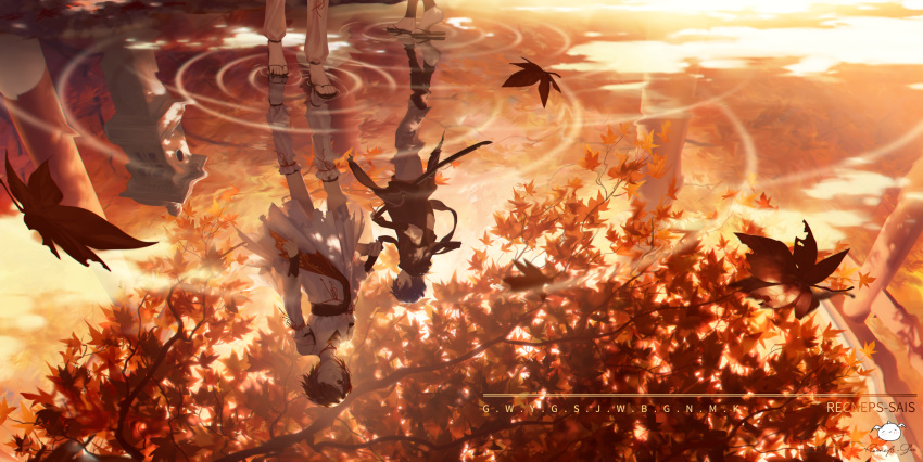 1boy 1girl autumn_leaves black_footwear black_legwear blue_hair brown_eyes brown_hair commentary_request dress highres kaito leaf long_sleeves maple_leaf meiko outdoors parted_lips pleated_dress profile reflection ripples sandals sheath short_hair signature spencer_sais standing sunset torii torn_clothes torn_dress tree vocaloid water white_dress white_legwear