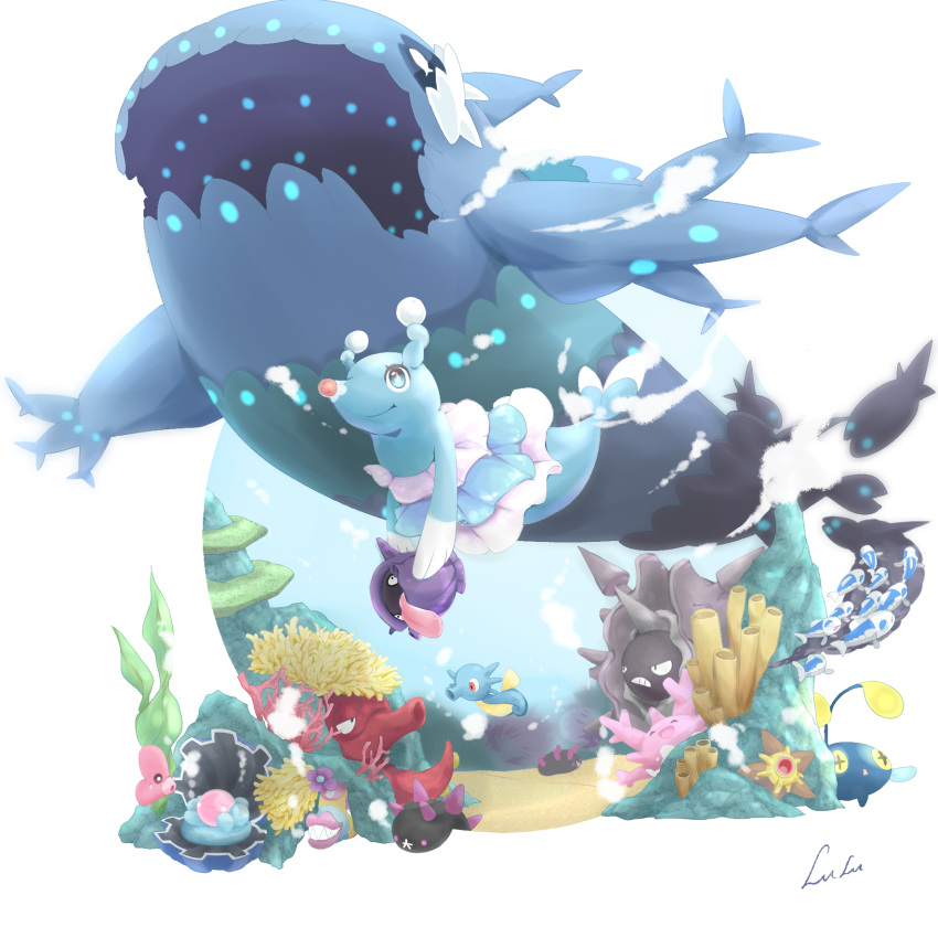 brionne bruxish chinese_commentary cloyster commentary_request corsola creature fish gen_1_pokemon gen_2_pokemon gen_3_pokemon gen_7_pokemon highres holding holding_pokemon horsea littlelluu no_humans octillery pokemon pokemon_(creature) pyukumuku shellder underwater water wishiwashi