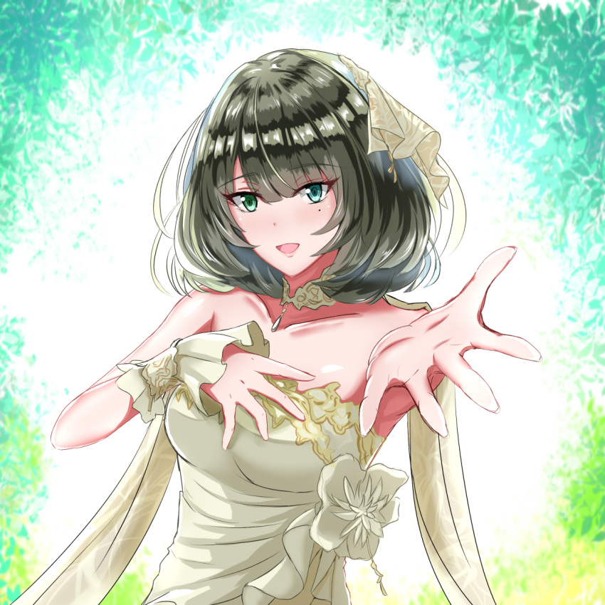 1girl :d =d bangs blue_eyes blunt_bangs blush breasts choker drape dress edelweiss_(wsparkz) eyebrows_visible_through_hair green_eyes green_hair hair_ornament heterochromia highres idolmaster idolmaster_cinderella_girls idolmaster_cinderella_girls_starlight_stage looking_at_viewer medium_breasts mole mole_under_eye open_mouth outstretched_arms outstretched_hand short_hair sleeveless sleeveless_dress smile solo strapless strapless_dress takagaki_kaede upper_body white_dress wrist_cuffs