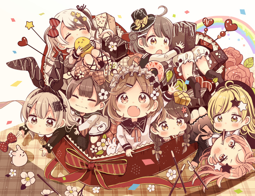 6+girls :o absurdres animal arm_up bird black_dress black_legwear black_sailor_collar black_shirt blonde_hair bow box brown_bow brown_eyes brown_hair brown_ribbon chibi chick closed_eyes closed_mouth commentary_request diagonal-striped_bow diagonal_stripes doughnut dress eating fang flower food food_in_mouth hair_bow hair_flower hair_ornament hair_ribbon heart heart-shaped_box highres holding holding_food in_box in_container kneehighs knees_together_feet_apart knees_up light_brown_hair long_hair long_sleeves multicolored_hair multiple_girls open_mouth original personification pink_flower pink_rose pocky rabbit rainbow red_bow ribbon rose sailor_collar sailor_dress sakura_oriko shared_food shirt star star_hair_ornament striped two-tone_hair valentine wavy_mouth white_background white_bloomers white_dress white_flower white_hair white_sailor_collar