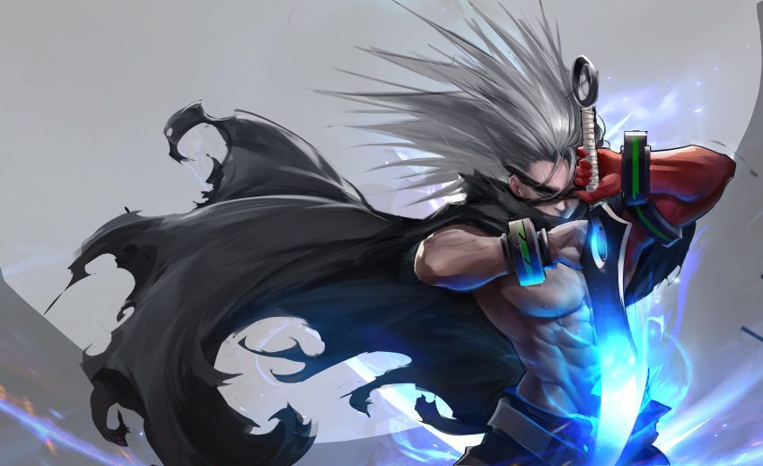 1boy abs absurdres belt black_cloak cloak closed_eyes dungeon_and_fighter flute_(artist) grey_hair highres holding holding_sword holding_weapon long_hair male_focus muscle nipples solo sword torn_cloak torn_clothes weapon