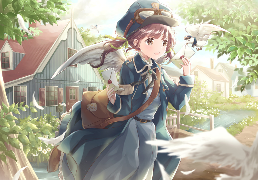 1girl angel angel_wings armband bag bangs belt bird blue_dress blue_headwear blue_jacket blurry blurry_foreground bridge brown_eyes brown_hair commentary_request cowboy_shot daisy day depth_of_field dress feathered_wings feathers flower goggles goggles_on_headwear hair_blowing highres hoshiibara_mato house jacket leg_lift looking_to_the_side love_letter mailman open_clothes open_jacket open_mouth original outdoors pigeon satchel solo standing standing_on_one_leg stream tree twintails wind wind_lift wings