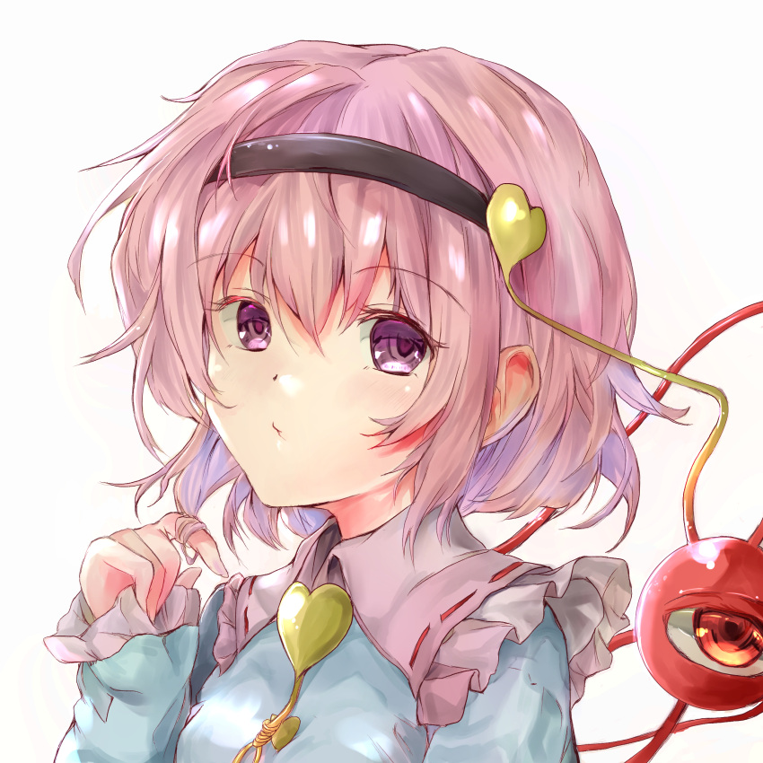 1girl :/ arm_up blouse blue_blouse commentary_request eyebrows_visible_through_hair frilled_shirt_collar frills hair_between_eyes hair_ornament hair_twirling hairband heart heart_hair_ornament highres ikazuchi_akira komeiji_satori looking_at_viewer pink_collar pink_hair short_hair simple_background sleeves_past_wrists solo third_eye touhou upper_body violet_eyes white_background