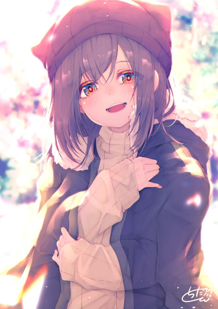 1girl :d animal_ears animal_hat backlighting bangs beanie black_hair black_jacket blurry blurry_background blush brown_eyes brown_headwear chita_(ketchup) commentary_request depth_of_field eyebrows_visible_through_hair fake_animal_ears fur-trimmed_jacket fur_trim hair_between_eyes hat highres hood hood_down hooded_jacket jacket jacket_on_shoulders long_hair long_sleeves looking_at_viewer open_clothes open_jacket open_mouth original ribbed_sweater signature sleeves_past_wrists smile solo sweater upper_body upper_teeth white_sweater