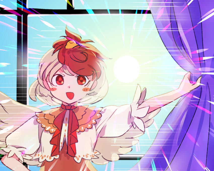 1girl :d arm_up backlighting bird_wings blonde_hair blue_sky blush_stickers chamaruku curtain_grab curtains day feather-trimmed_sleeves feather_trim feathered_wings hand_on_hip indoors light light_rays looking_at_viewer morning neck_ribbon niwatari_kutaka open_mouth puffy_short_sleeves puffy_sleeves red_eyes red_neckwear red_ribbon ribbon short_hair short_sleeves sky smile solo sun sunlight tareme touhou upper_body v-shaped_eyebrows window wings