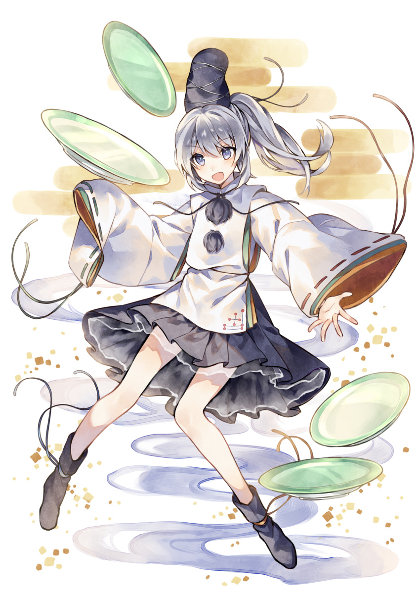 1girl full_body hat highres japanese_clothes kariginu legs long_sleeves looking_at_viewer mononobe_no_futo open_mouth ponytail raka_(cafe_latte_l) short_hair silver_hair sleeves_past_fingers sleeves_past_wrists solo tate_eboshi touhou wide_sleeves