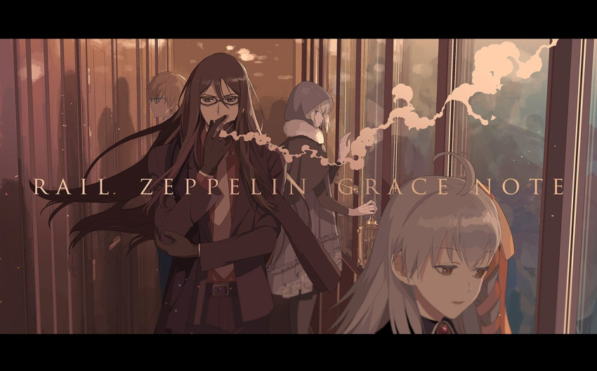 2boys 2girls ahoge birdcage black_gloves black_scarf braid brown_hair cage caules_forvedge_yggdmillennia cigarette copyright_name fate_(series) formal glasses gloves gray_(lord_el-melloi_ii) grey_hair holding_cage hood hood_up letterboxed long_hair lord_el-melloi_ii lord_el-melloi_ii_case_files multiple_boys multiple_girls necktie oka_(a.m.) olga_marie_animusphere reflection scarf smoking stole suit train_interior waver_velvet