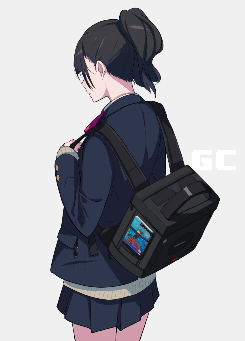 1girl absurdres back backpack bag beige_sweater black_backpack black_hair blazer blue_background blush book cable cameo character_print commentary_request covered_eyes cowboy_shot fami_(yellow_skies) game_console game_cover gamecube gamecube_controller highres holding holding_bag in_pocket jacket link long_hair neck_ribbon nintendo original original_character pink_neckwear pleated_skirt ponytail ribbon school_uniform shiny shiny_hair simple_background skirt sleeves_past_wrists sweater the_legend_of_zelda the_legend_of_zelda:_the_wind_waker toon_link