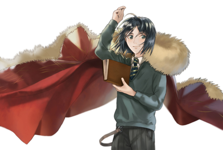 1boy arm_up bangs black_eyes black_hair book cape fate/grand_order fate/zero fate_(series) fur-trimmed_cape fur_trim green_eyes green_shirt highres messy_hair necktie parted_bangs shirt smile solo sweater waver_velvet yurian_(user_utch8788)