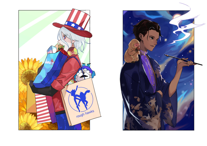 2boys 676643396dolce alternate_hairstyle american_flag american_flag_print animal animal_on_shoulder arjuna_alter bag black_hair bodysuit dark_skin dark_skinned_male fate/apocrypha fate/extra fate/extra_ccc fate_(series) flag_print flower full_moon hair_slicked_back hat highres indian_clothes kameez karna_(fate) monkey moon multiple_boys muppets pale_skin pipe shopping_bag smoke stuffed_animal stuffed_toy sunflower top_hat white_hair