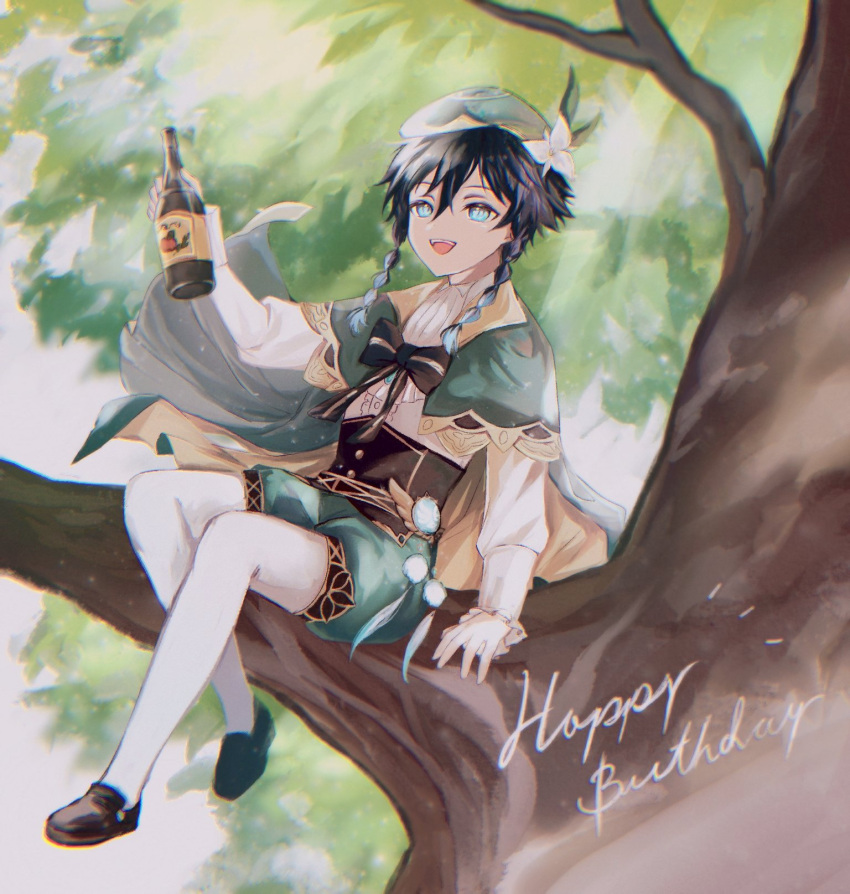 1boy androgynous bangs beret black_hair blue_hair bottle bow braid brooch cape collared_cape collared_shirt commentary_request corset english_text feathers flower frilled_sleeves frills genshin_impact gradient_hair green_eyes green_headwear green_shorts happy_birthday hat hat_flower highres holding holding_bottle in_tree jewelry leaf long_sleeves looking_at_viewer male_focus multicolored_hair notice_lines open_mouth pantyhose shirt shoes short_hair_with_long_locks shorts sitting sitting_in_tree smile solo teteno_6 tree tree_branch twin_braids venti_(genshin_impact) vision_(genshin_impact) white_flower white_legwear white_shirt wine_bottle