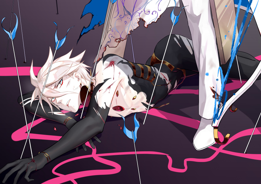 2boys 676643396dolce absurdres arjuna_(fate/grand_order) arrow_in_body blood blue_eyes bodysuit close-up fate/apocrypha fate/extra fate/extra_ccc fate_(series) field_of_arrows highres injury karna_(fate) male_focus multiple_boys out_of_frame solo_focus torn_clothes white_hair white_skin